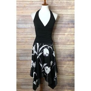 Charlotte Russe Black/White Floral Maxi Dress S